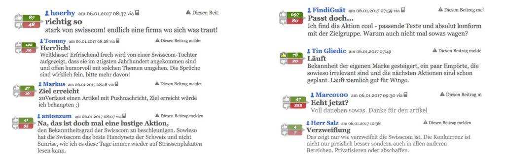 Kommentare der Leser zur Wingo Kampagne auf 20min.ch